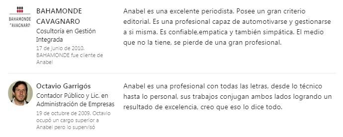 Recomendaciones de Anabel González Ocáterli como redactora profesional